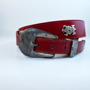SILVER CREEK RED LEATHER BELT SOUTHWEST ANIMALS